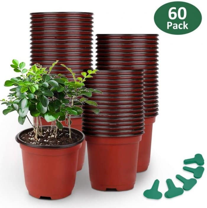 GROWNEER 60 Packs 4 Inches Plastic Plant Nursery Pots