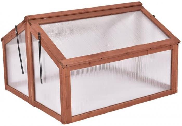 Giantex Garden Portable Wooden Cold Frame Greenhouse
