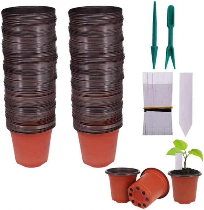 "Huvai 100 Pcs 4"" Plastic Seedlings Plants Nursery Pots"