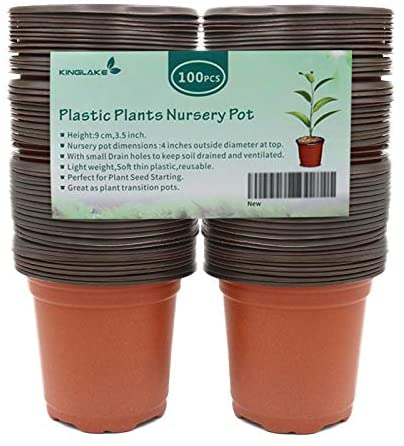 "KINGLAKE 100 Pcs 4"" Plastic Plants Nursery Pot/Pots"