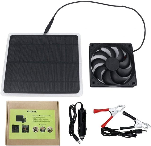 ZUZZEE Solar Panel Powered Fan Mini Ventilator